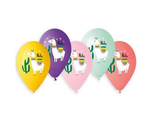 "Воздушные шары Лама HOLA14"" 5 цветов 1шт."