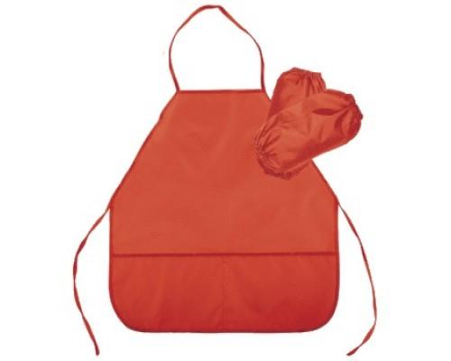 Фартук deVENTE 45x54 см (M), с нарукавниками, однотонный красный