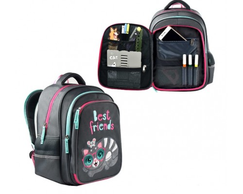 Рюкзак 54120 КОТИК С МЫШКОЙ 29х38.5х13.5 см для девочки начальная школа